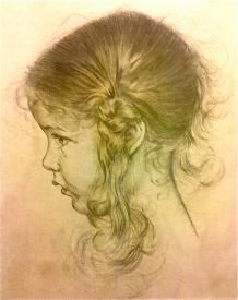 Antique Young Girl Child Head Ink Portrait Art Print Etching On Paper http://www.busaccagallery.com/catalog.php?catid=115=5832=1