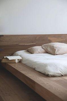 Platform natural wood bed base