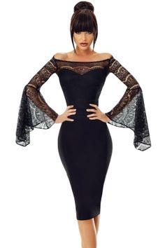 19bc099c6e5 US  7.59 Black Lace Bell Sleeve Off Shoulder Bodycon Party Dress Lace Dress  Black