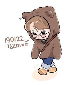 Kai <credits to owner> Kai Exo, Bts And Exo, Exo Stickers, Cute Stickers, Exo Fanart, Exo Cartoon, Exo Anime, Kpop Drawings, Bts Chibi