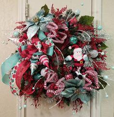 Christmas Wreath,Evergreen Wreath,Seasonal Wreath,Front Door Wreath,Santa Wreath,Poinsettia Wreath,Christmas Decor,Santa Decor,Holiday Decor by SouthTXCreations on Etsy