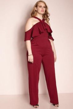 Beautiful Plus Size Ruffle off shoulder jumpsuit Solid, colored with flounce ruffle trimmed sides, and a wide leg. 95% cotton 5% Spandex