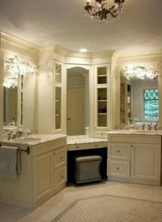 Split vanity, off centered sinks