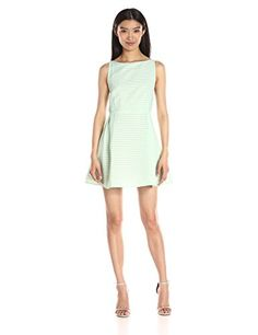 """""""Lucca Couture Women's Striped Organza Fit and Flare Dress"""