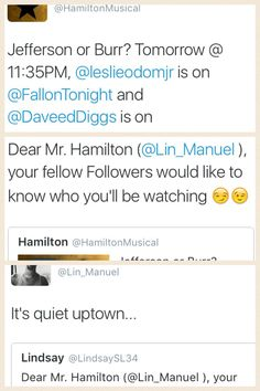 DID HE JUST<<< Is Lin even a real person bc he is so freaking fabulous. Like is he just a mass hallucination or something<<<<< We think he's the reincarnation of Alexander Hamilton. Theatre Geek, Musical Theatre, Theater, Alexander Hamilton, Musical Hamilton, Hamilton Lin Manuel Miranda, Aaron Burr, Def Not, Fandoms
