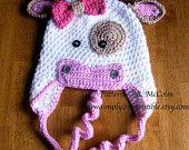 Molly Moo Cow Hat Pattern - Crochet Pattern Number 4 - Beanie and Earflap Pattern - Newborn to Adult - CROCHET HAT PATTERN