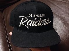 b0e013e1cb3 11H Vtg Hat Cap Snap Back 1990s Sports Specialties Script LA Raiders