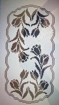 Crochet Tablecloth Pattern, Crochet Doilies, Filet Crochet, Crochet Stitches, Crochet Designs, Crochet Patterns, Cross Stitch Flowers, Cross Stitch Embroidery, Bohemian Rug