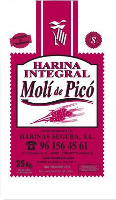 La Harina Integral es rica en fibra. Utilizada para la elaboración de panes y productos integrales,  está elaborada con harina de fuerza y fibra natural del trigo. Más información: molidepico@gmail.com o 96 156 45 61.