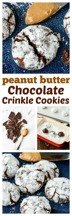 Everyone's favorite soft and chewy chocolate crinkle cookies made even better with peanut butter! Ultra fudgy, easy to make, and the peanut butter takes them over the top!