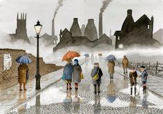 Remembering the artist Sid Kirkham Umbrella Art, Under My Umbrella, Walking In The Rain, Singing In The Rain, Popular Artists, Local Artists, Rain And Thunder, Old Pottery, Stoke On Trent
