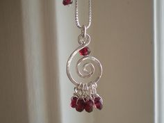 Hammered silver and garnet necklace | Flickr - Photo Sharing!