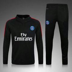 PSG 16-17 Season Black Soccer Sweater Suit [G622]