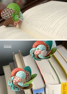 The best DIY projects & DIY ideas and tutorials: sewing, paper craft, DIY. DIY Gifts Ideas 2017 / 2018 paper flower bookmark - i love bookmarks -Read Handmade Flowers, Diy Flowers, Fabric Flowers, Paper Flowers, Fun Crafts, Crafts For Kids, Arts And Crafts, Diy Paper, Paper Crafts
