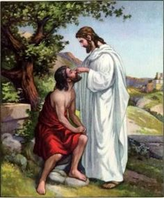 Title:  Miracle Mud - Jesus Heals Blind Man -  Date:  April 8, 2013 - Artist:  Mary Rice Hopkins - This picture of Jesus healing the blind man fits my theme because it's one of the powerful Miracles He performed.