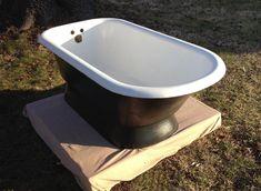 Tub Paint, Pedestal Tub, Cast Iron Bathtub, Attic Bathroom, Master Bathroom, Bathrooms, Green Companies, Old Orchard, Farm Sink