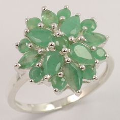 Party Wear Ring Size US 6.75 Natural EMERALD Gemstone 925 Solid Sterling Silver #Unbranded