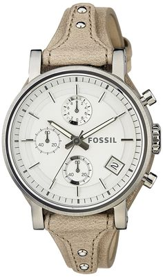 Fossil Women's ES3625 Original Boyfriend Chronograph Stainless Steel Watch with Beige Leather Band ** Read more at the image link.