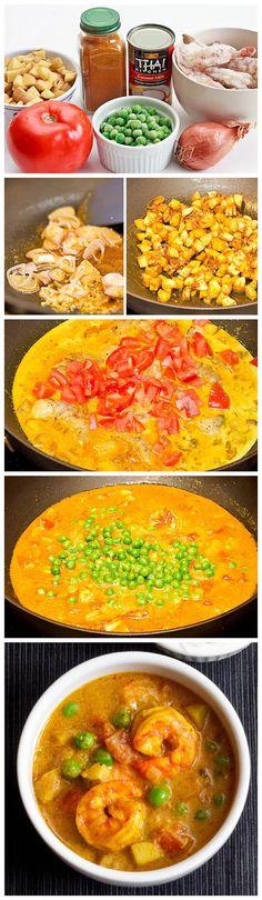 Coconut Shrimp Curry Recipe. Sub butternut squash instead of potatoes.