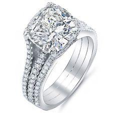 4.65 Ct. Cushion Cut Diamond Engagement Ring w/ Round Pave I,VVS1 GIA Platinum