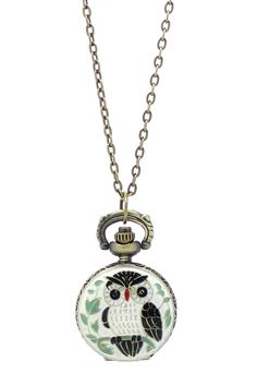 Green Owl Working Pocket Watch Pendant Necklace by Eye Candy Los Angeles on @HauteLook
