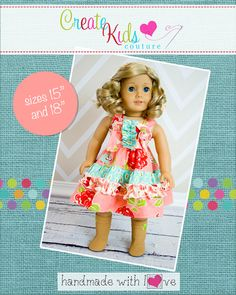 Create Kids Couture - Aubrey's Tiered Ruffle Knot Dress Doll Size PDF Pattern, $5.00 (http://createkidscouture.com/aubreys-dolls.html)