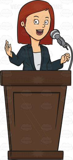 Woman Standing Behind A Podium Giving A Lecture #address #adult #adultfemale #bluejacket #brownhair #brunette #electro-acoustictransducer #female #femaleperson #grownup #human #humanbeing #individual #lecture #lecturing #microphone #mike #person #platform #podium #publiclecture #pulpit #soapbox #speak #speaking #speech #talk #talking #woman #vector #clipart #stock