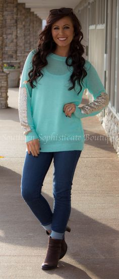 Mint Sequin Sleeve Tunic / Southern Sophisticate Boutique
