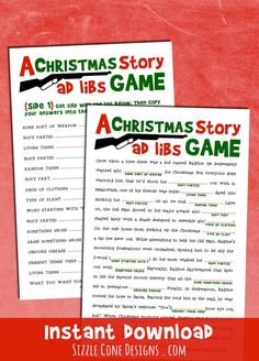 """Christmas Madlibs - A Holiday Party Game Inspired By The Cult Classic movie """"A Christmas Story."""" Download your PDF today. I triple dog dare you."""