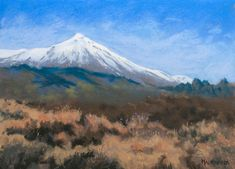 The snows of Teide by Olli Malmivaara Soft pastel painting on sanded paper 18 x 24 cm
