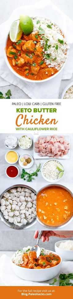 This deliciously savory one-pan Keto Butter Chicken is high in protein and dairy-free. It's the perfect one-pan dinner that's a breeze to make. Paleo Keto Recipes, Paleo Chicken Recipes, Healthy Low Carb Recipes, Curry Recipes, Free Recipes, Paleo Dinner, Dinner Recipes, Paleo Curry, Butter Chicken