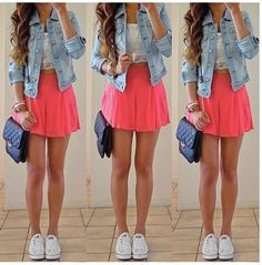 Cute / Fashion / Skater Skirt / Pink / Jean Jacket / White / Converse / Outfit / Little / Black / Purse / Adorable Cute Concert Outfits, Girly Outfits, Cute Summer Outfits, Spring Outfits, Cute Outfits, Summer Clothes, Converse Outfits, Skater Skirt Outfit For Summer, Fair Outfits