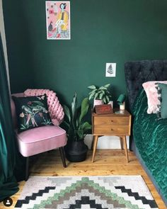 Watercolour hand painted 'Plumage' Cushion made from Vegan Suede Forest Green Bedrooms, Emerald Green Bedrooms, Green Bedroom Colors, Bedroom Color Schemes, Green Rooms, Colourful Bedroom, Feature Wall Bedroom, Bedroom Wall, Bedroom Decor
