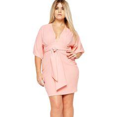 Pink Belted Plus Size Kimono Dress via Polyvore featuring dresses, pink day dress, women plus size dresses, plus size kimono dress, belted dress and womens plus dresses