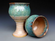 Mossy Green Goblet Pottery Cup Ceramic Chalice by darshanpottery, $32.00