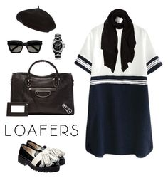 """Black Loafers"" by ysendjaja on Polyvore featuring Anouki, Yves Saint Laurent, Cash Ca, Harrods, Chanel and Balenciaga"