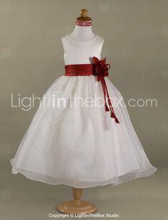 A-line/Princess Floor-length Flower Girl Dress - Satin/Organza Sleeveless 2015 – $64.99
