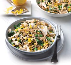 Zesty chicken and ricotta spaghetti Frozen Peas, Healthy Eating, Healthy Food, Ricotta, Cooking Time, Spaghetti, Vegetarian, Nutrition, Healthy Recipes