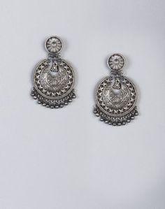 Silver Anusuya ES 2116 Dangle Earrings Metal Jewelry, Decorative Bells, Women's Earrings, Pocket Watch, Belly Button Rings, Hand Weaving, Dangles, Jewelry Design, Silver