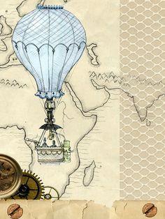 Background, Steampunk, Hot Air Balloon, Map, Paper
