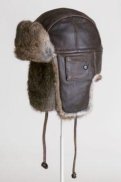 b002f022962 Vintage Leather Aviator Hat with Rabbit Fur Trim Aviator Hat