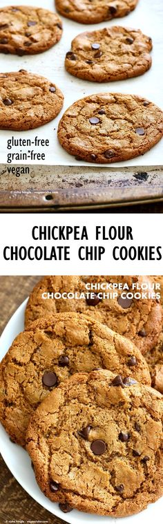 Chickpea Flour Chocolate Chip Cookies. Huge Chewy Cookies full of fiber and protein. These cookies need 1 Bowl, are grain-free, gluten-free vegan and can be made nut-free. | VeganRicha.com