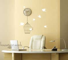 Birdcage Vinyl wall decal graphic sticker set with Cute flying Birds cottage chic home decor. $23.00, via Etsy.