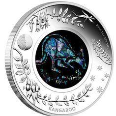 Australian Opal Series: Kangaroo – 2013 – 1 Dollar – Australia – silver coin with opal
