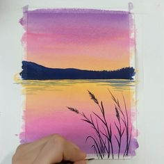 Watercolor Beginner, Watercolor Paintings For Beginners, Watercolor Sunset, Beginner Painting, Watercolour Tutorials, Easy Paintings, Painting Techniques, Watercolor Landscape Tutorial, Step By Step Watercolor