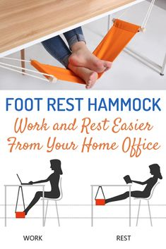 This unique foot rest desk hammock office is a perfect companion to your home office to work and rest in comfort. The hammock is made of a premium canvas, super durable and not easy to fade. It can be hung on any desk with two metal clips and you can adjust the length of the rope from 200 mm to 450 mm as needed. Comes in a range of different colours. #homeoffice #workfromhome #coolgadget #smartgadget #hammock #deskst hammock is perfect Office Set, Office Wall Art, Home Office Design, Home Office Decor, Desk Arrangements, 1000 Life Hacks, Do It Yourself Projects, Quote Prints, Foot Rest