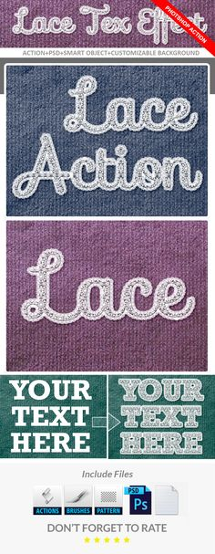 Realistic Lace Text Effect Download here: https://graphicriver.net/item/realistic-lace-text-effect/16987647?ref=KlitVogli