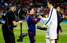 Barcelona's Lionel Messi and PSG's Zlatan Ibrahimovic before the UEFA Champions League Quarter Final match Second Leg on Tuesday at Nou Camp, Barcelona, Spain.