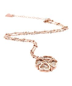 Look at this Cubic Zirconia & Rose Goldtone Clover Pendant Necklace on #zulily today!