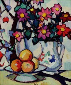 Still life of dahlias and fruit, c.1910-12 (oil on canvas)